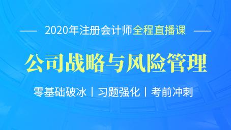 2020年注会战略习题强化班第十三讲